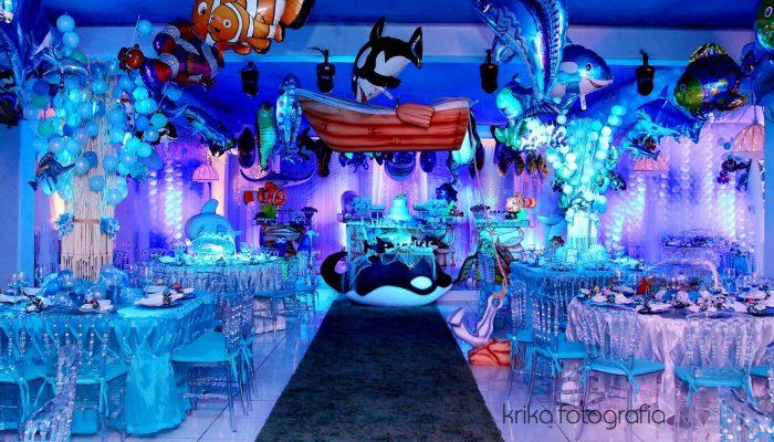 decoração fundo do mar balões inflaveis