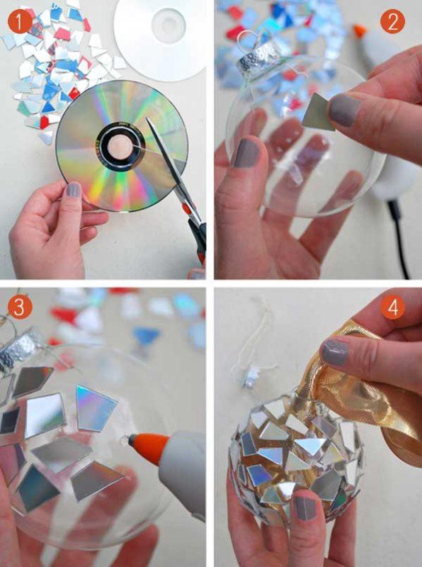 bola de natal decorada com cd