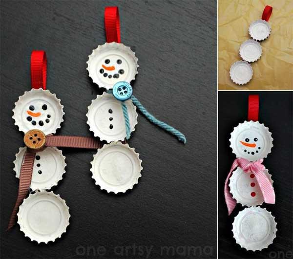 boneco de neve de tampinha