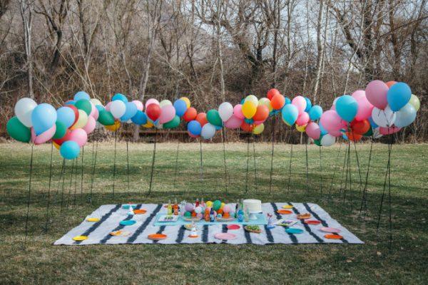 festa de aniversário piquenique colorido