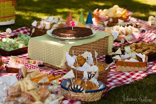 festa de aniversário piquenique com bolo